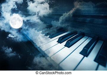 piano keys in moonlight cloudy night