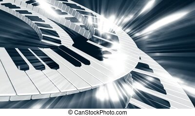 Piano keys in motion