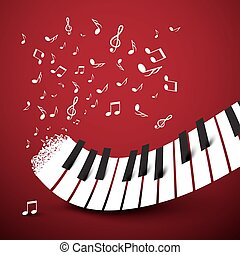 Piano Keys. Keyboard with Notes. Music Symbol. Vector Illustration on Dark Red Background.