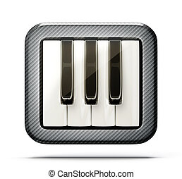 piano keys icon isolated on a white