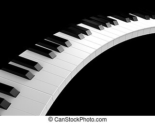 piano keys - 3d rendered illustration of black and white...