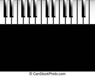 Piano keys - Keys of piano over black background to insert...