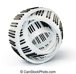 piano keys - conceptual piano keys isolated on a white...