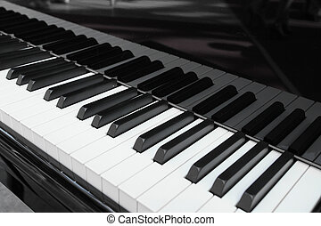 Piano keys under the white background