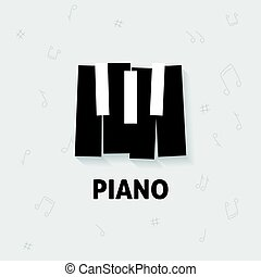 Piano keys vector flat black and white, keyboard