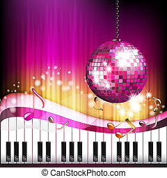 Piano keys with butterflies and disco globe