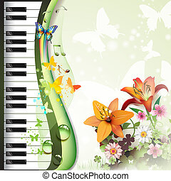 Piano keys with lilies and butterflies