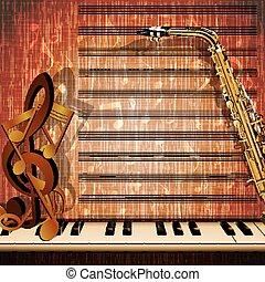 piano keys with notes