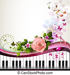 Piano keys with rose and butterflies