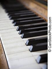 Piano keys with short focal depth