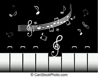 Piano Keys with Staff and Notes. Black and White Retro Vector Illustration.