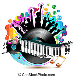 Piano keys with dancing silhouettes and vinyl record