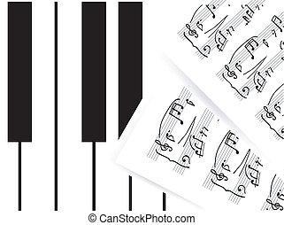 piano klávesy, s, nota
