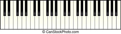 piano, længe, klaviatur