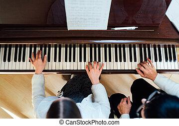 piano lesson at a music school