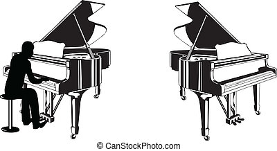 Piano lesson - Clipart of grand piano, with or without a...