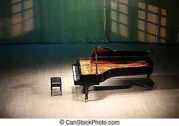 piano, ligado, cena, em, concert salão