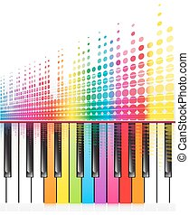 piano, lines., arc-en-ciel, ondes sonores, clés, vecteur