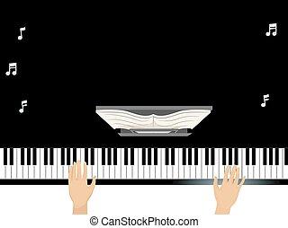 piano, mãos, grandioso