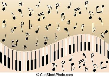 piano, música nota