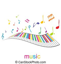 piano, música, teclas, cartaz, notas