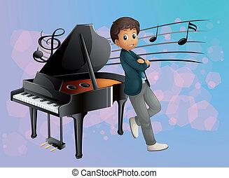 piano, músico, espalda