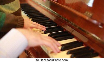 piano, mains, père, jouer, fils