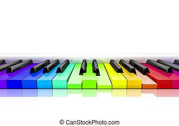 piano, met, regenboog kleurde, sleutels, achtergrond