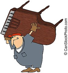 This illustration depicts a man in coveralls and carrying a baby grand piano on his back.