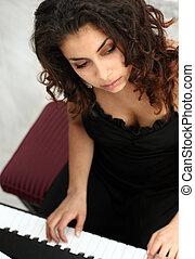 piano, mulher, tocando