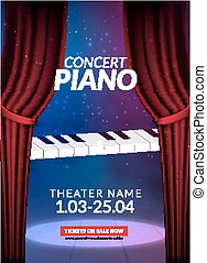Piano music concert background. Musical illustration poster. Vector classical instrument sound concept