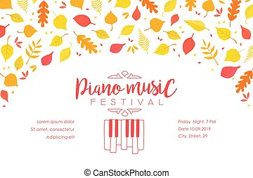 Piano Music Festival Banner Template with Autumn Leaves, Music Show Promotion Advertisement Vector Illustration