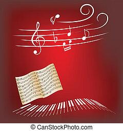 Piano music - Piano keys, sheet music and music notes