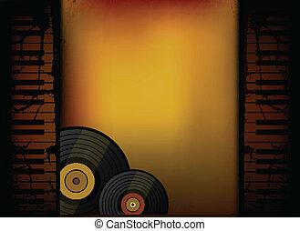 Piano Music Retro Background with Vinyl