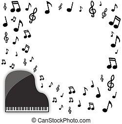 piano, musical, fundo, grandioso
