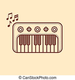 Piano. Musical instrument Baby toy. Cartoon style.