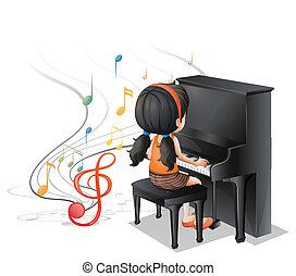 piano, niña joven, juego