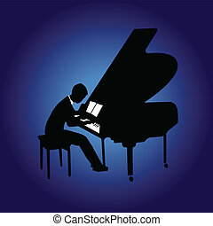 Piano night - Piano player's silhouette, vector illustration...