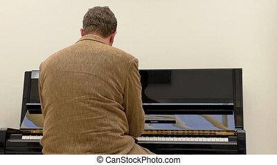 piano, noir, jouer, homme