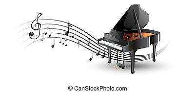 piano, notas música, grandioso