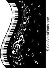piano, notas música, teclado