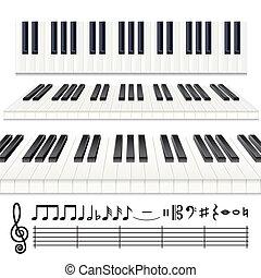 Piano Notes - Music Design Elements, vector Piano keys or...