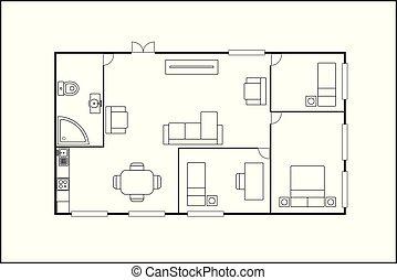 piano, o, costruzione, isolato, mobilia, appartamento, fondo, bianco