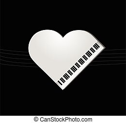 Piano on black background