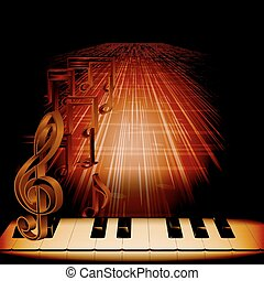 piano on dark background with notes and treble clef