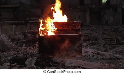 Piano on fire musical instrument