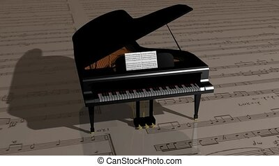 Piano on sheet music