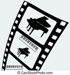 piano on the film tape vector