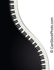 piano, ondulé, clés