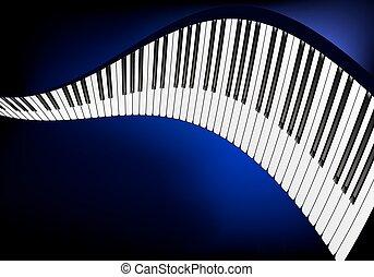 piano, ondulé, clavier